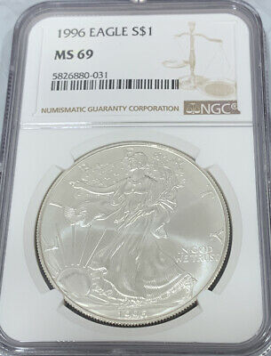1996 - Silver American Eagle - NGC MS 69 - Brown Label 1oz Silver Dollar 5826880