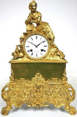 Antique French Bronze Ormolu Mantel Clock Incredible Case Bell Striking C1830