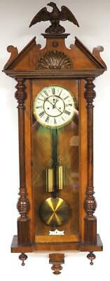 Antique 8 Day Walnut Twin Weight Vienna Regulator Wall Clock Double Weight C1890