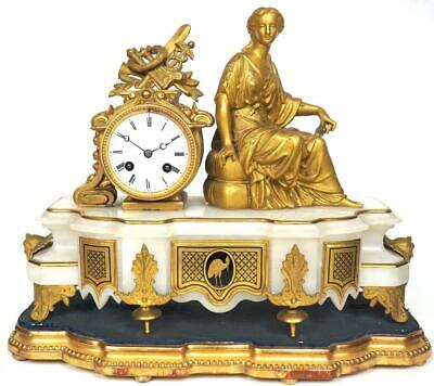 Antique French Gilt & Marble Mantel Clock Incredible Case Bell Striking C1830