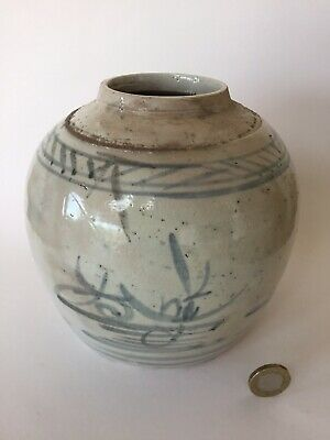 Antique 18th or 19th C Chinese Porcelain Landscape Ginger Jar, Character Mark