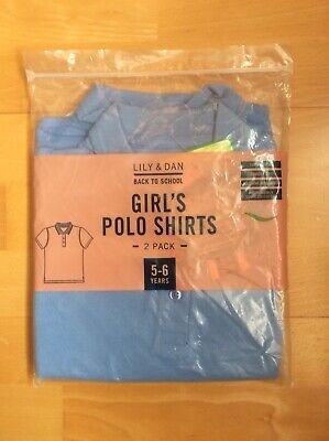 Lily & Dan Girls Twin Pack Short Sleeve Polo Shirts Age 5-6 Years. NEW In Packet