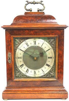 Burr Walnut Bracket Clock Caddy Top Silver Dial Cubed Mantel Clock Electric 1920