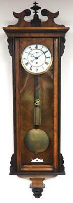 Antique 8 Day Walnut Weight Vienna Regulator Wall Clock Single Weight C1890