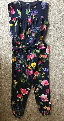 M&S Autograph Girls Navy Mix Floral Jumpsuit Age 8-9 Yrs