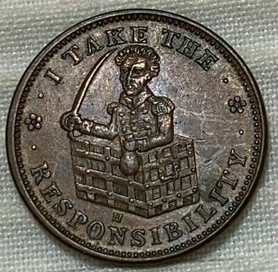 Andrew Jackson Constitution Take Responsibility Copper Hard Times Token XF