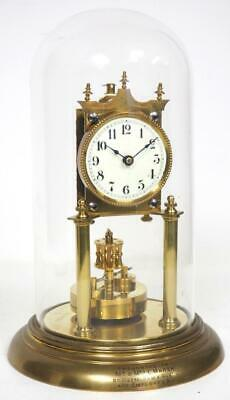 Antique German Torsion Clock 400 Day Anniversary Mantel Clock Under Glass Dome