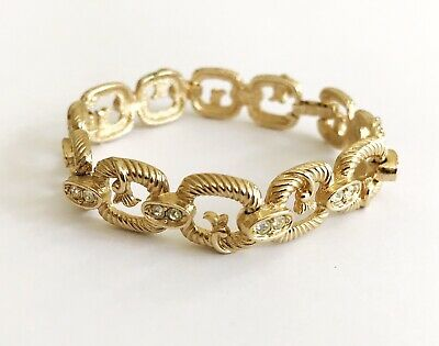 Lovely Vintage Sarah Coventry Goldtone and Diamante Link Style Bracelet.