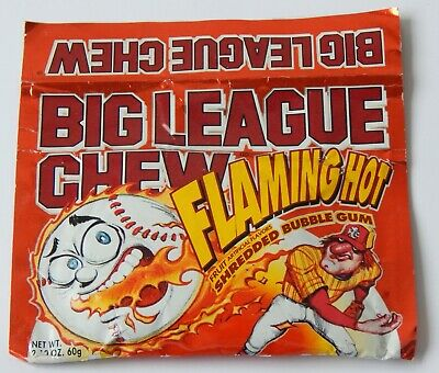 Vintage 1991 Flaming Hot Big League Chew Shredded Bubble Gum full pack wrapper