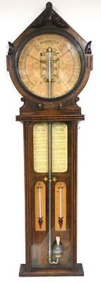 Rare Antique Admiral Fitzroy Solid Oak Polytechnic Wall Barometer, Thermometer