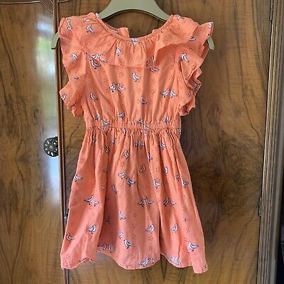 Girls Marks & Spencer Coral Orange Ruffle Party Summer Dress- Seagulls - Age 5-6