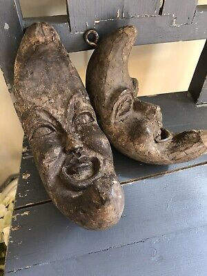 2 wonderful old antique wooden carved solid moons