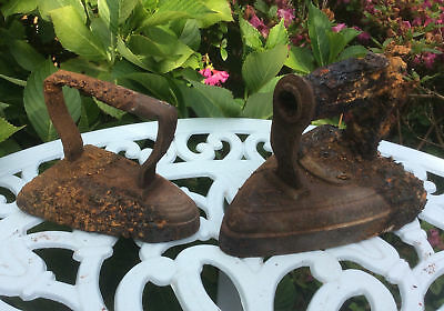 2x Vintage Victorian Laundry Flat Irons, Heavy Cast Iron, Doorstops, English