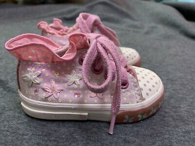 Next Girls Pink Spotted, Floral Lace Up Canvas Shoes Size 3 VGC