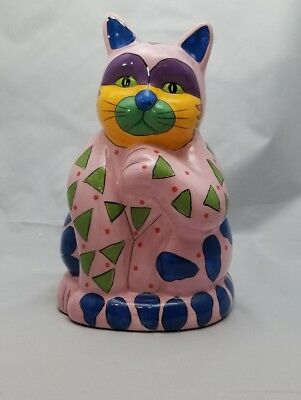 """Colorful Cute Milson & Lewis Hand Painted Cat Bank 10"""" Pink, Green, Yellow, Blue"""