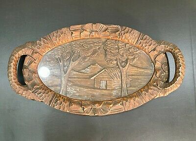 Stunning Large Vintage Hand Carved German Wood With Glass Platter