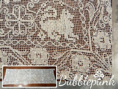 Antique Net Bobbin Lace Table Runner Animals Heavily Worked 50x16 ~ Estate