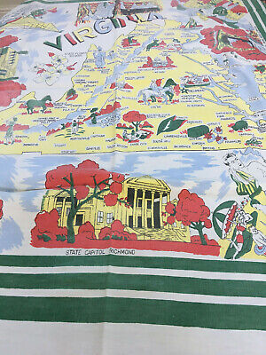 "Nice ""Virginia"" True Vintage State Souvenir Tablecloth With Points Of Interest"