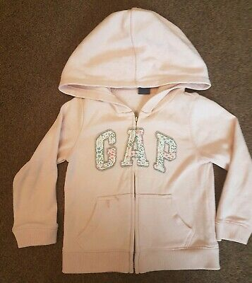 Girls Age 3 GAP pink Zip Up Hoody With Floral Logo