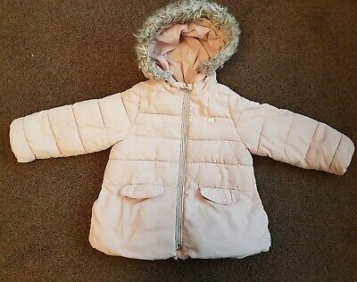 Zara Age 3-4 Pink Hooded Coat With Detachable Faux Fur