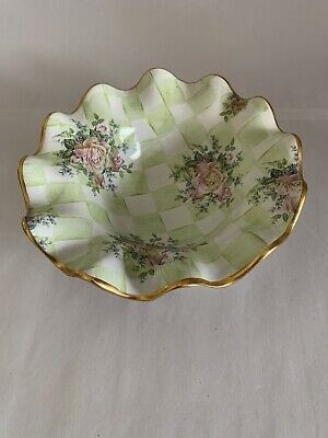 "MACKENZIE CHILDS "" Sweet Pea "" Green Ruffled Edge 8.25"" Bowl"