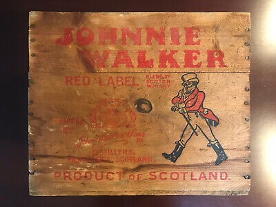 Vintage Johnnie Walker Red Label Scotch Whiskey Wood Wooden Crate Box