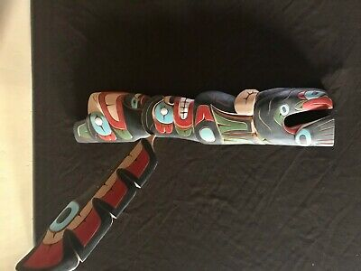 Northwest Coast Native Art Eagle, Hawk Man, Salmon, Wild Man, Wood Carving 24""