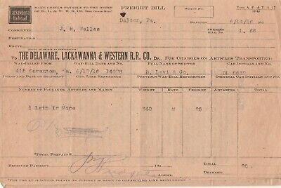Freight Bill Delaware Lackawanna & Western Railroad Co. Dalton PA 1916