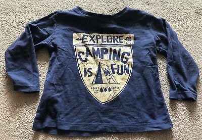 Zara Baby Boy Navy Blue Long Sleeved Top Size 12-18 Months 12-18m Camping Is Fun