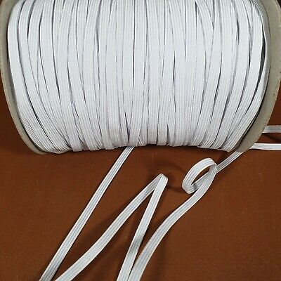 6mm Flat White Elastic - Premium Grade 8 Cord -  Great For Crafts, Masks, Sewing