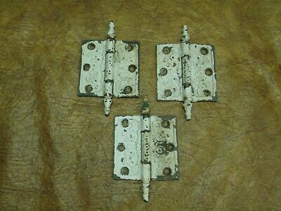 "Set of 3 Antique Ornate Victorian Steeple Tip Door Hinges 3.5"" x 3.5"""