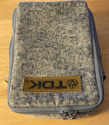 Vintage TDK Denim Cassette Tape Case Holder with Zipper Acid Wash