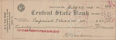 Bank Check Central State Bank from Van Horn Dalton PA to Imperial Tobacco 1925