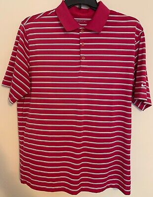 Nike Golf Mens Dri-Fit Short Sleeve Polo Pink White Striped Vented L