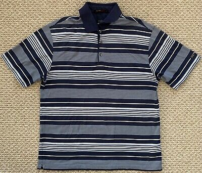 Nike Tiger Woods Collection Mens FitDry Short Sleeve Golf Polo Blue Striped L