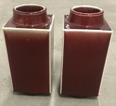 Fine Antique Pair Chinese Porcelain Ox Blood Red Flambé Glazed Square Vases NR