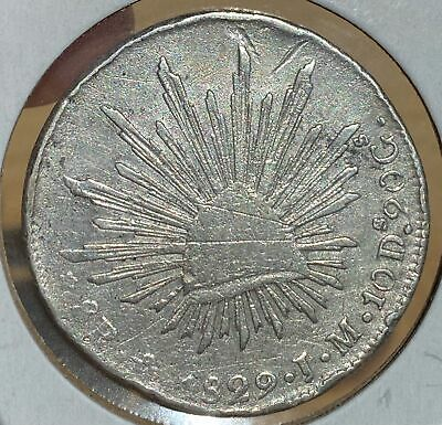 Mexico 1829 Mo JM Scarce Silver Cap and Ray 8 Reales 510-63