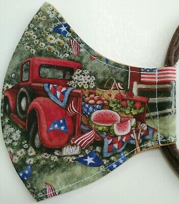 Adult Handmade Red Truck Cotton Face Mask Cloth Covering Washable 2 Layers