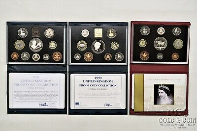 1998 2002 UK United Kingdom PROOF Coin Sets Unc World Coins COAs & Boxes 17395