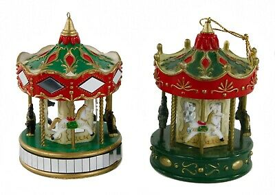 Red Green White Carousel Lot of 2 Christmas Ornament Holiday Decoration