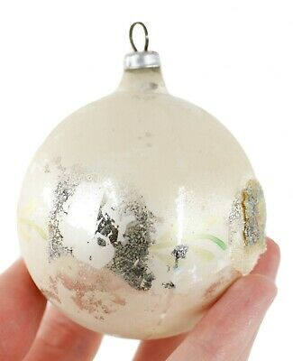Austria White Green Silver Glass Ball Christmas Ornament Holiday Decoration