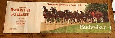 "RARE Vtg Promo Clydesdale Horse Budweiser Bud Beer Poster Print - 44 1/2"" X 14"""