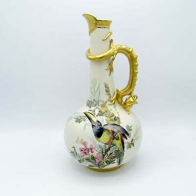 Antique C-1884 Royal Worcester Ewer with Hand Painted Birds, Dragon, Gold, NR