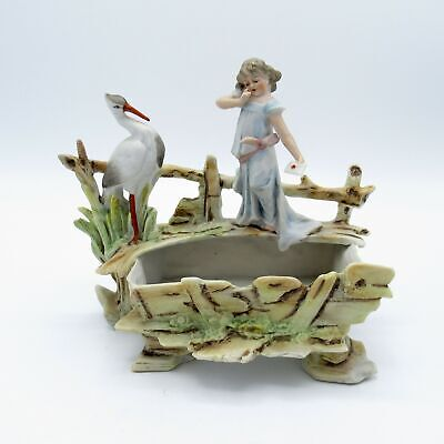 Antique Large German Bisque Planter with Stork, Young Lady, Letter, NR