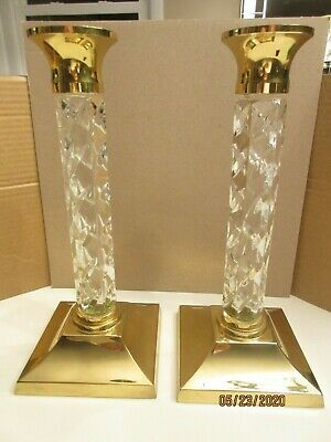"""Pair Of Waterford """"Cambridge""""; 11  Crystal/Brass Marked Candle Holders, 11 Inch"""