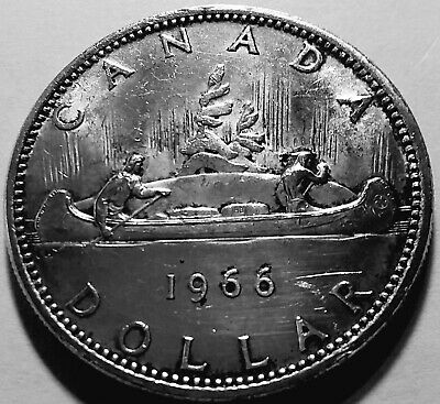 1966 Canadian Silver Dollar 80% ASW .60 Troy Ounces Ungraded but Very Nice Coin!