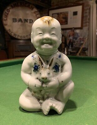 Rare Antique Chinese Celadon Porcelain Baby Buddha W/ Rabbit Figure Statue