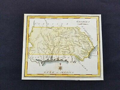 1795 Scott Map Georgia Territory Alabama Mississippi Florida Genuine Antique