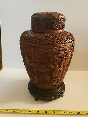 Outstanding Large Antique Chinese Carved Cinnabar Lacquer Vase Jar Urn