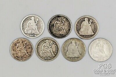 7 Seated Dime 10c Asst Date 1872 1874 1875 1876 Circulated US Silver Coins 18966